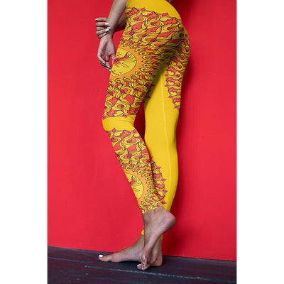Orange Mandala Leggings - Phoenix Mandala