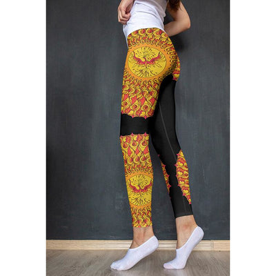 Red and Black Mandala Leggings - Phoenix Mandala