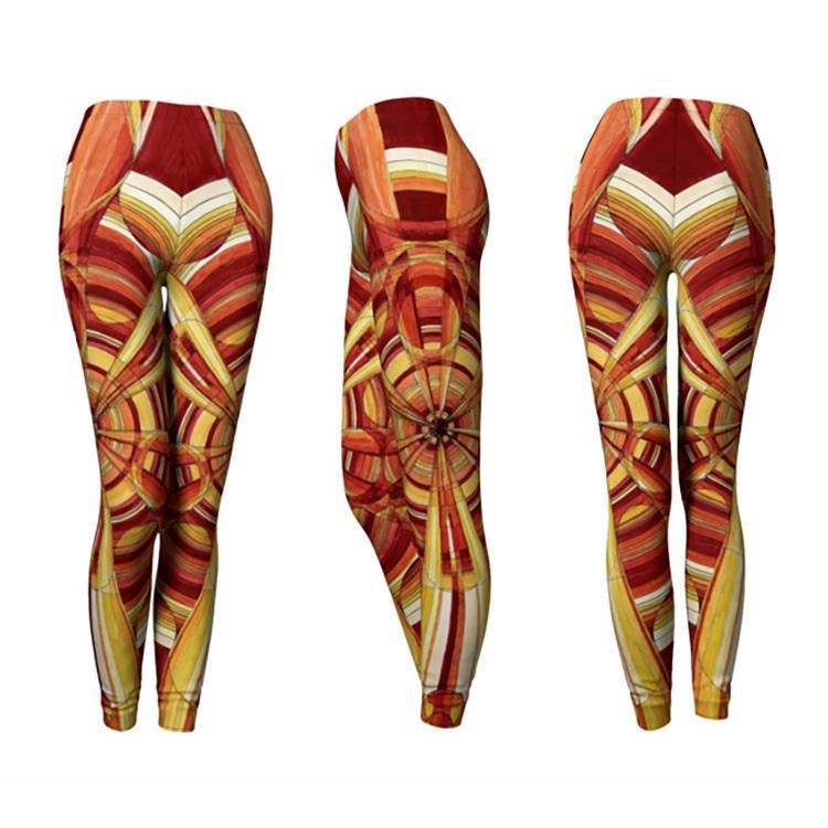 Red-Orange Mandala Leggings - The Photon Belt Mandala