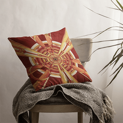"Red and Orange Pillowcase - Square 18""x18"" - The Photon Belt Design"