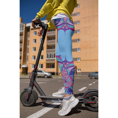 Pink and Blue Mandala Leggings - Aphrodite Mandala