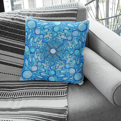 "Blue Pillowcase - Square 18""x18"" - Water Mandala Design"