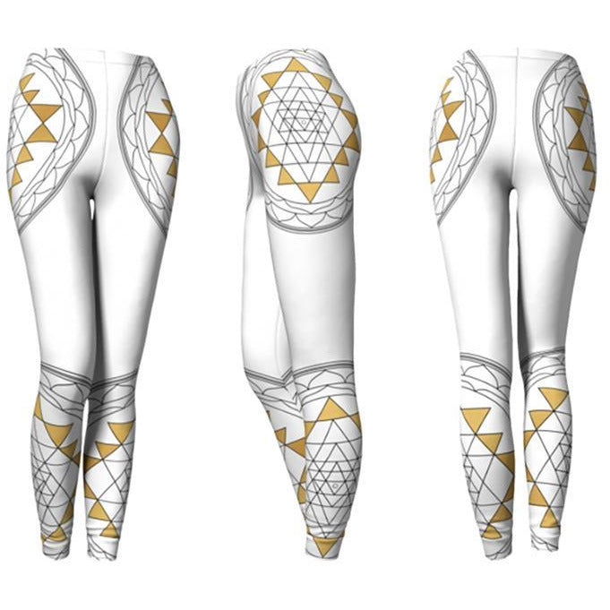 White and Gold Mandala Leggings - Sri Yantra Mandala