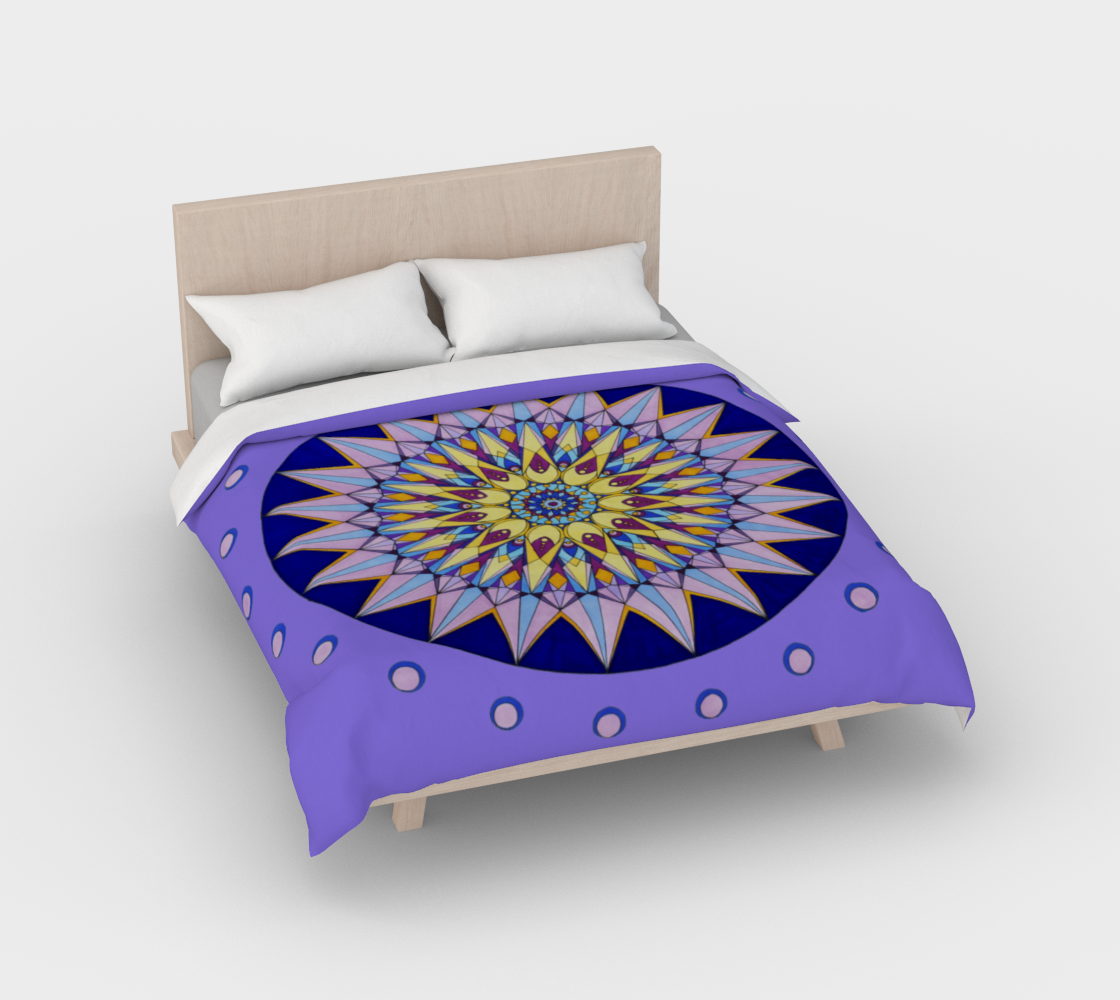 Duvet Cover Purple and Yellow Crown Mandala