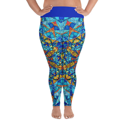 Orange and Blue Plus Size Leggings - Merkabah Mandala