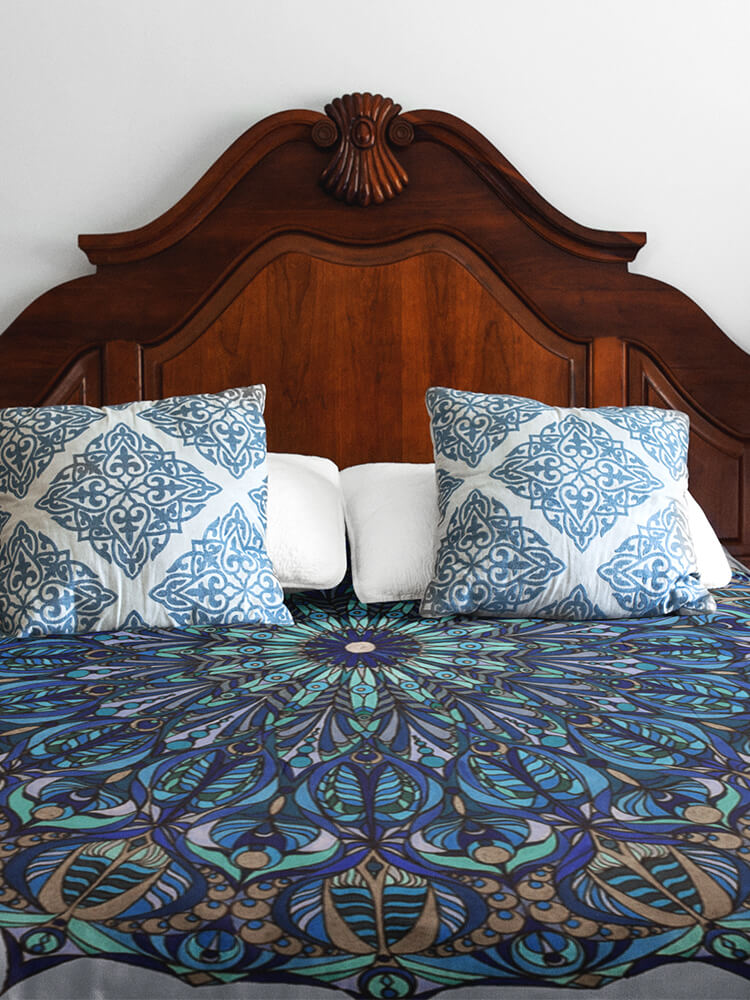 Duvet Cover Blue and Silver Seed of Life Mandala
