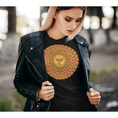 Women's Boho T-Shirt - Phoenix Mandala-Women's Tee (B+C 6004)-High Temple of Light-High Temple of Light