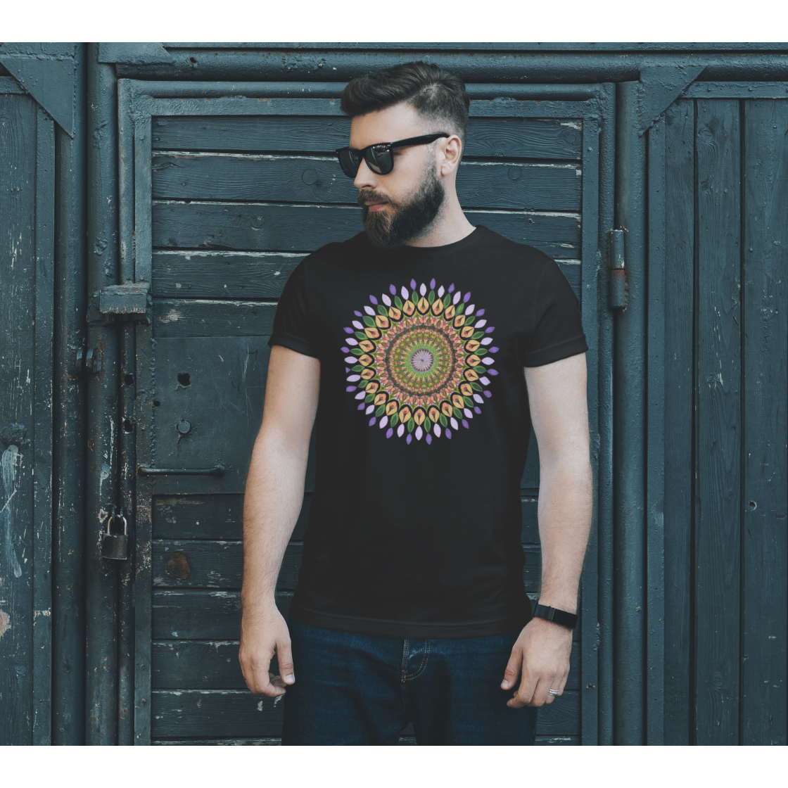 Men in mandala t-shirt