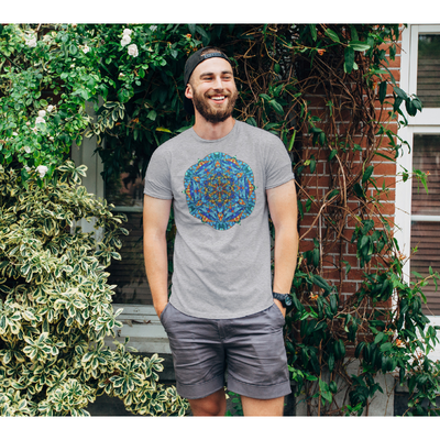 Men's Boho Blue and Orange T-Shirt - Merkhaba Mandala
