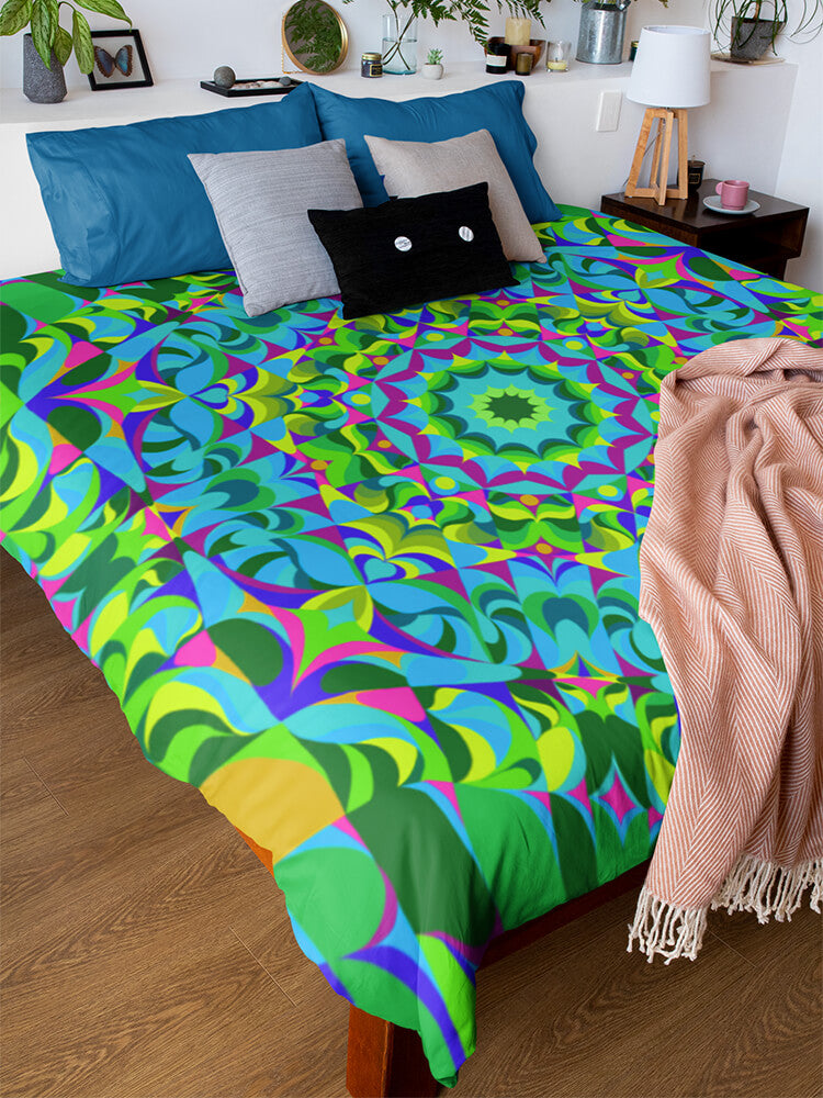 Duvet Cover Green Ray Mandala