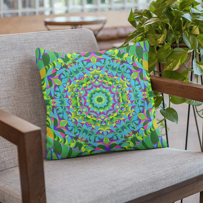 "Green and purple Pillow Case, 18""x18"" - The Green Ray Mandala"