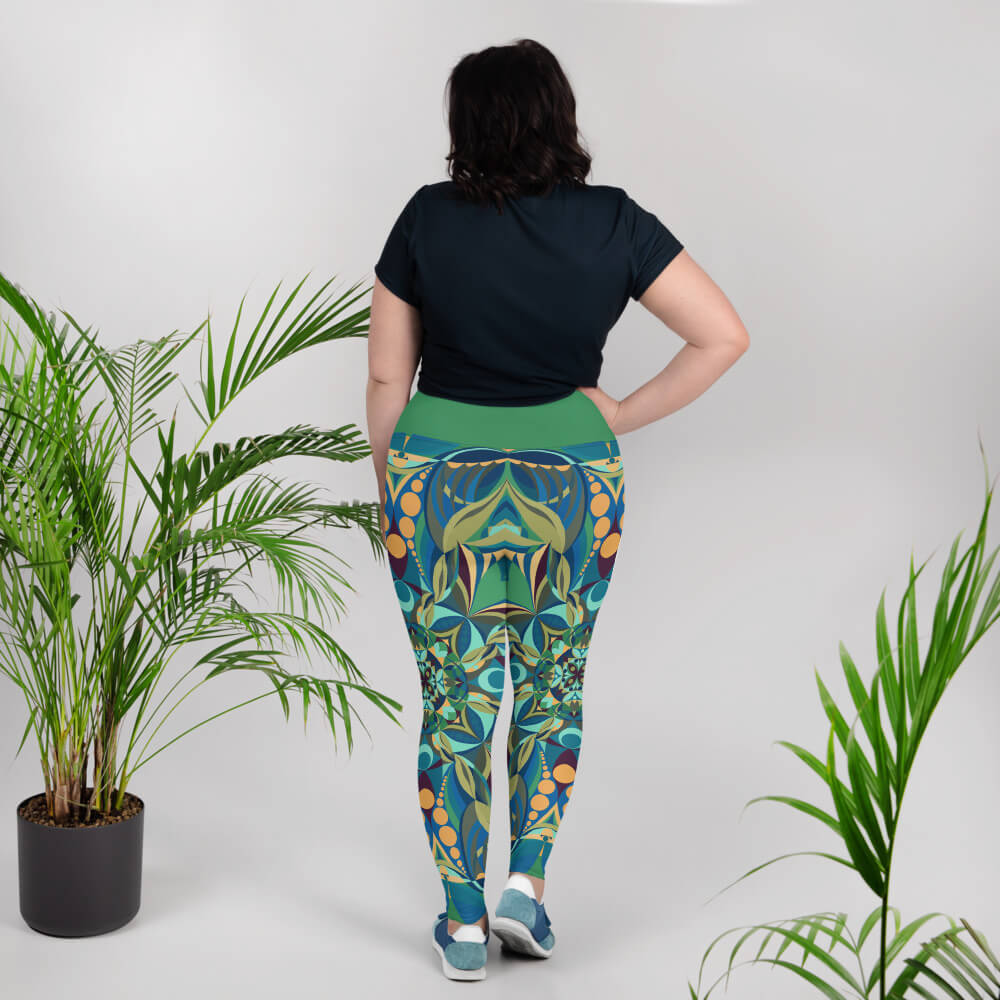 Green Plus Size Leggings - Green Gaia Mandala