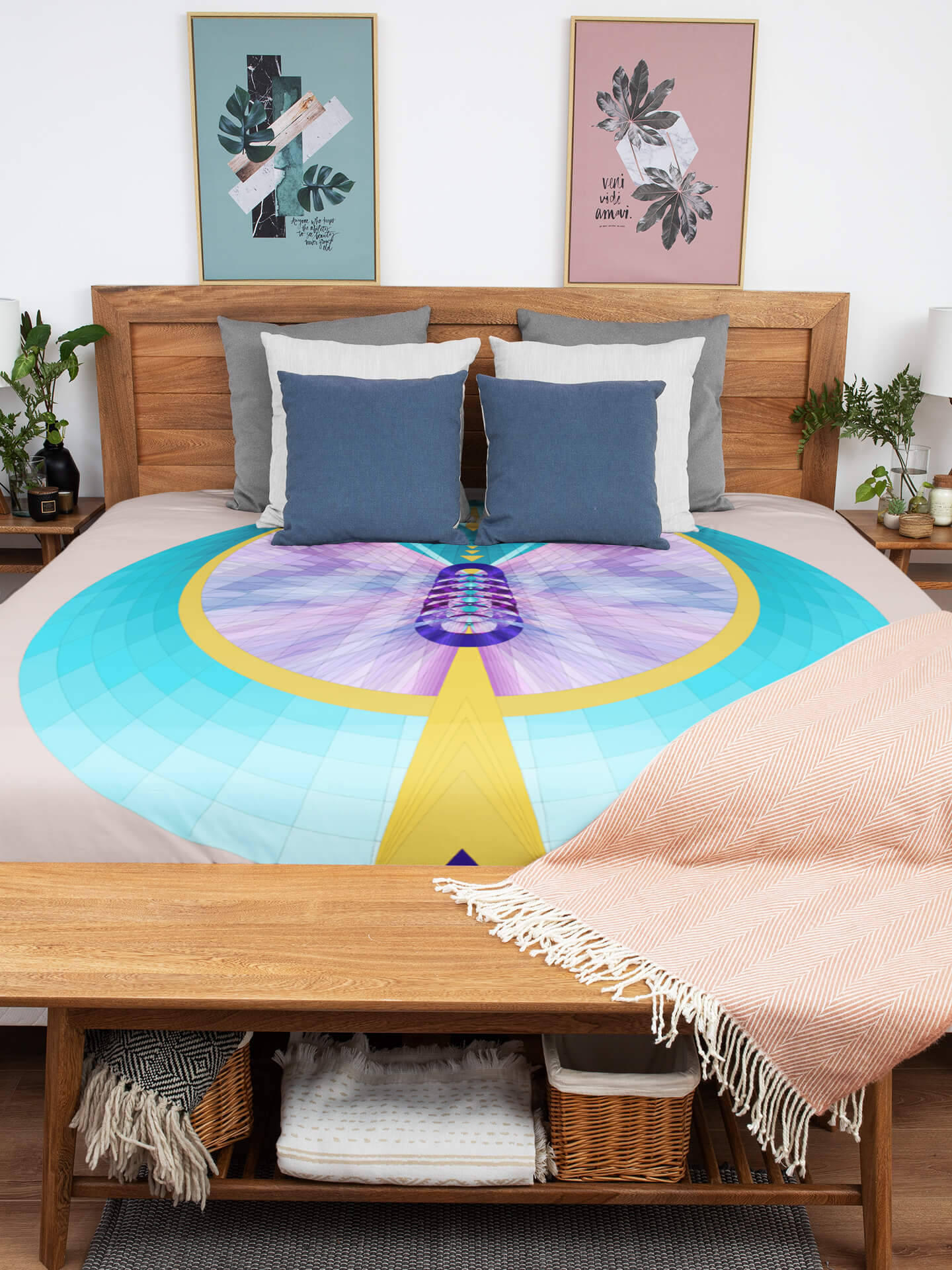 Duvet Cover Purple and Turquoise Hathor Mandala
