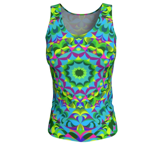 Tank Top, Long - Green Ray Mandala