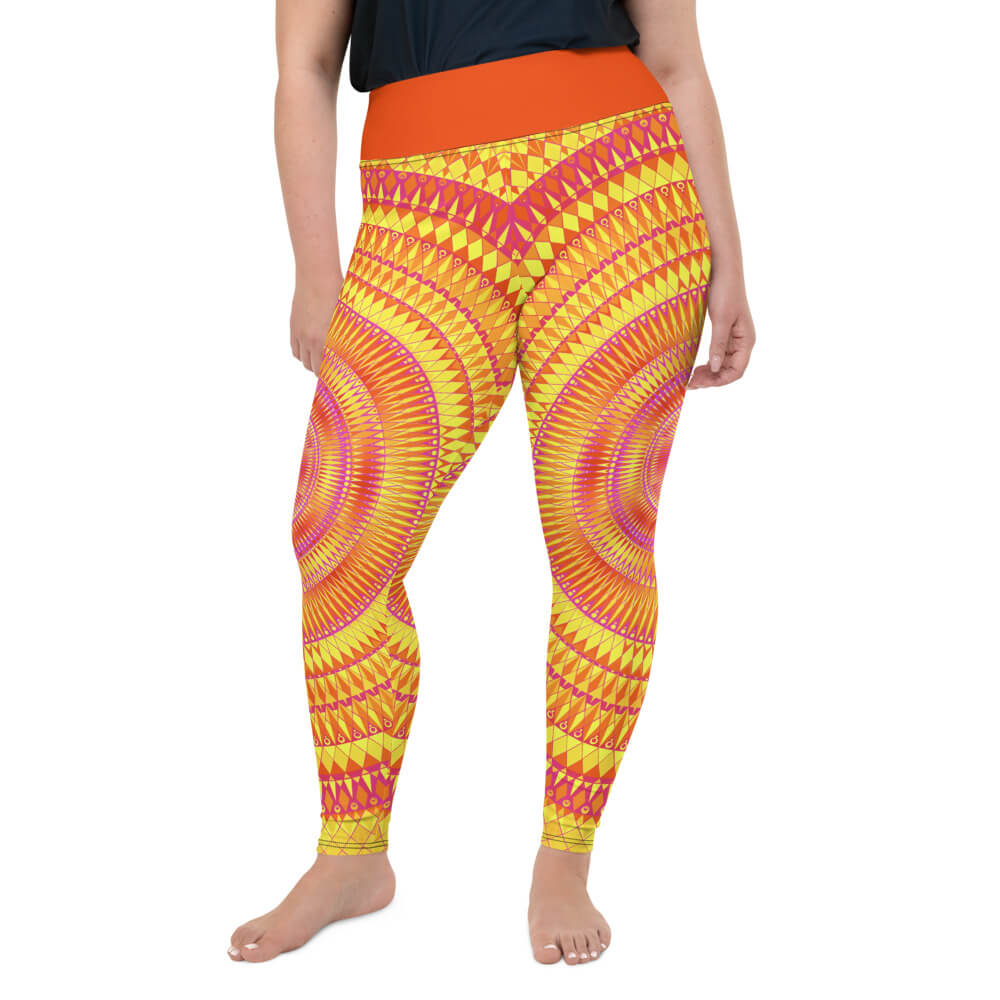 Orange Plus Size Leggings - Solaris Mandala