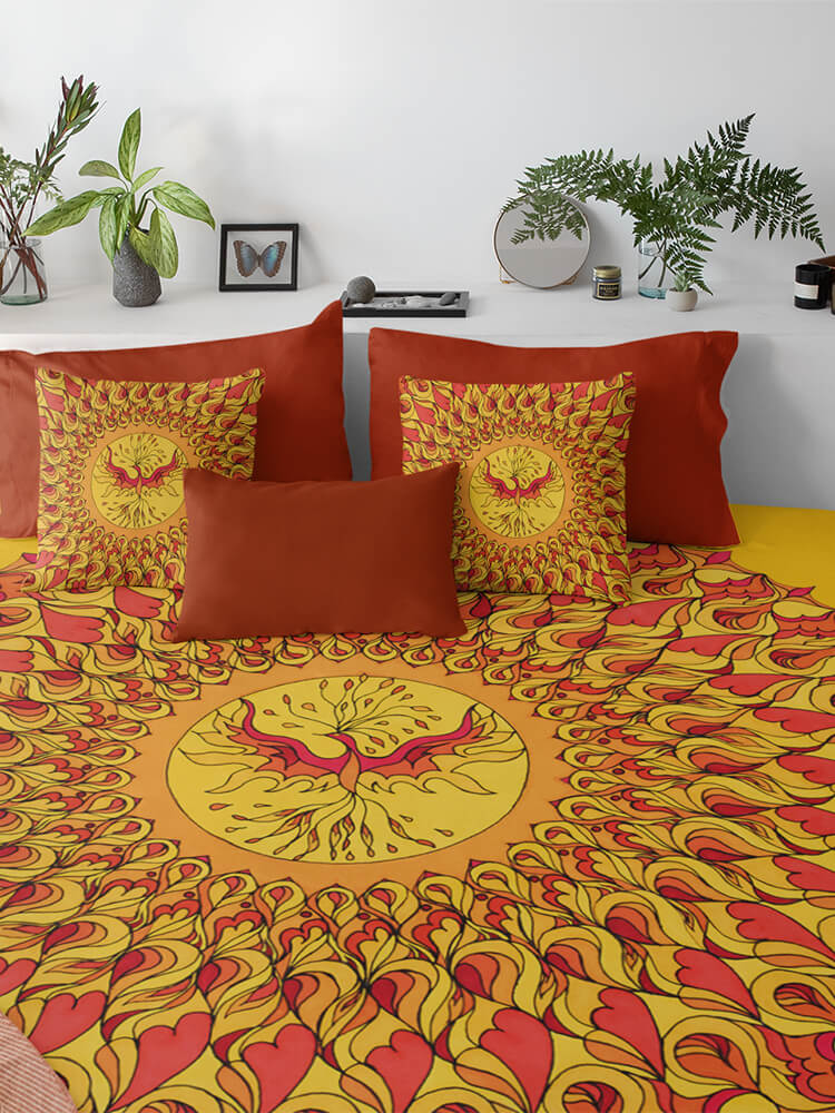 Duvet Cover Orange and Red Phoenix Mandala
