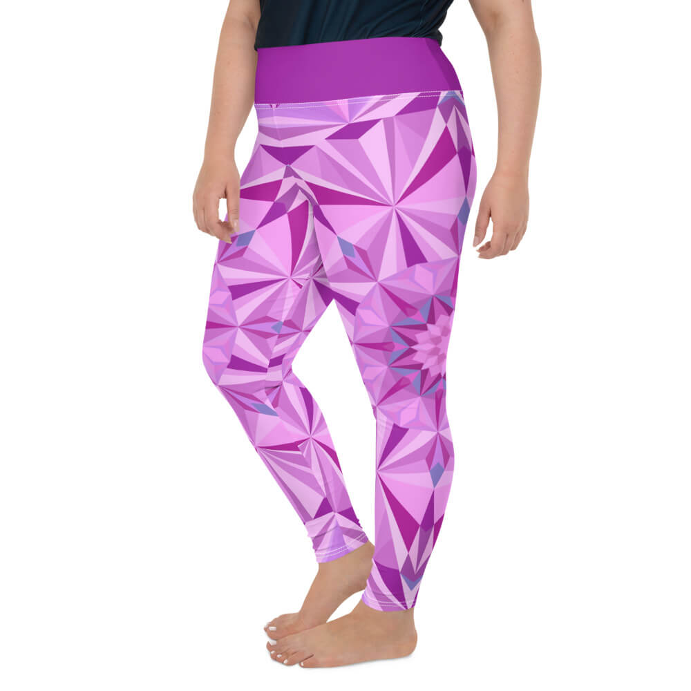 Pink Plus Size Leggings - Pink Diamond Design