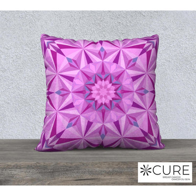 "Pink Pillowcase - Square 22""x22"" - Pink Diamond Design"
