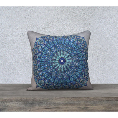 silver and blue pillowcase