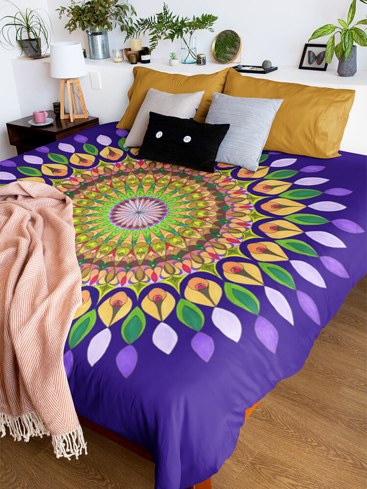 Duvet Cover Purple Boreal Mandala