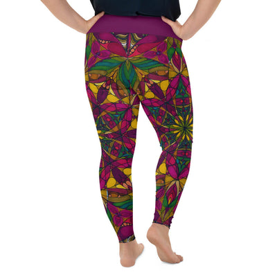Red Plus Size Leggings - New Gaia Mandala
