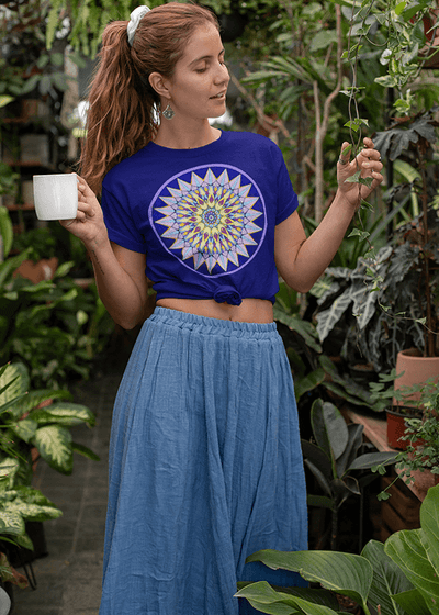 Women's Boho T-Shirt - Crown Mandala