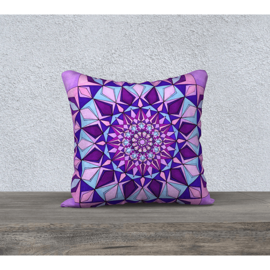 "Purple Pillowcase - Square 18""x18"" - Amethyst Design"