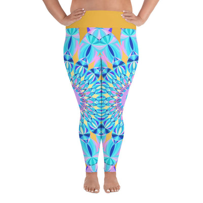 Vibrant Blue Plus Size Leggings - Atlantis Mandala