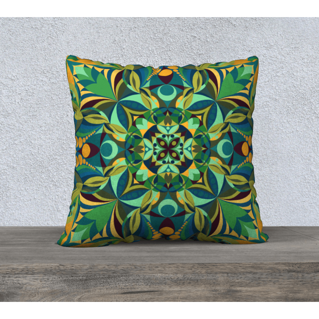 green and yellow pillowcase