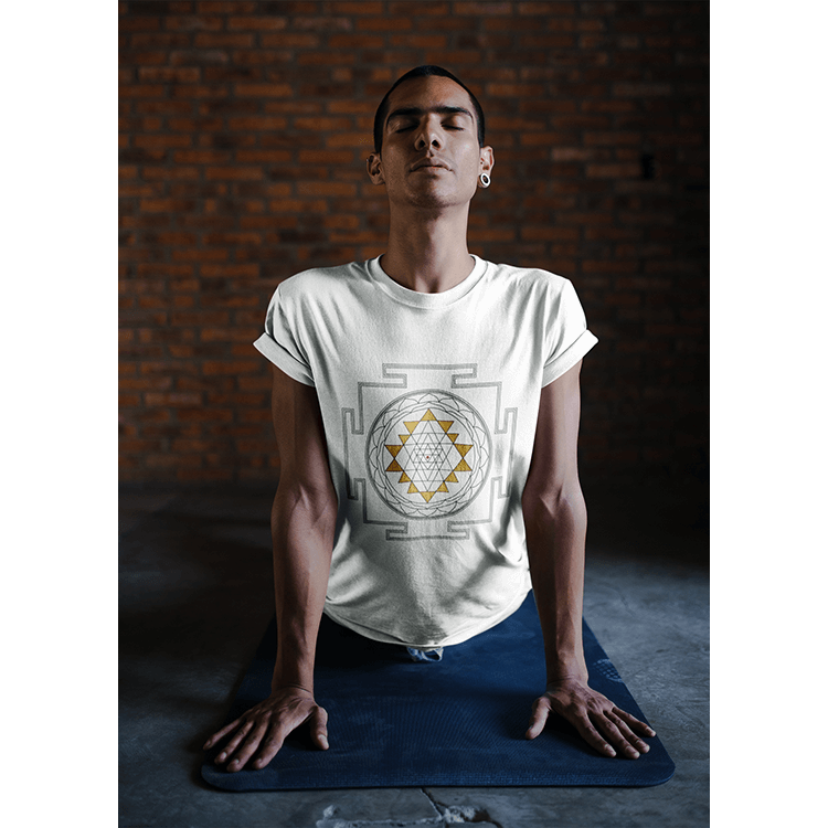 Men's Boho T-Shirt - White Sri Yantra Mandala