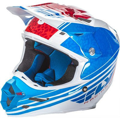 Off Road Helmet - FLY Racing F2 ANIMAL Motocross Helmet Blue/White/Red