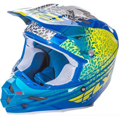 Off Road Helmet - FLY Racing F2 ANIMAL Motocross Helmet Yellow/Blue/White