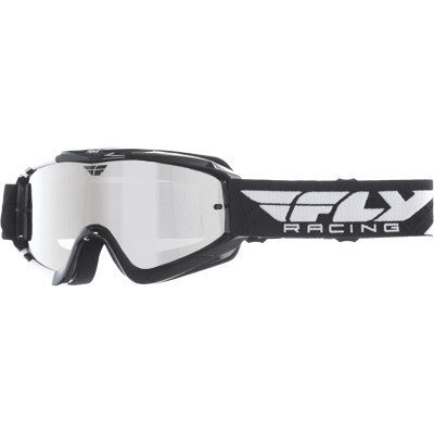 Off Road Helmet - FLY  Racing Zone Motocross Goggles White/Black With Chrome/Smoke Lens