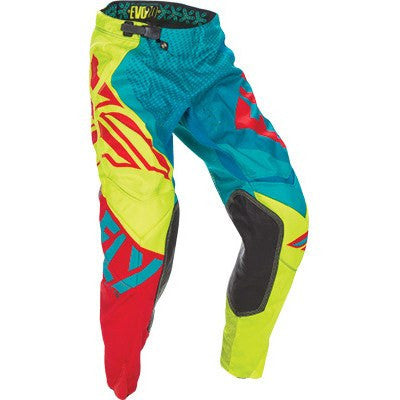 FLY Racing EVO Motocross Pants Teal/Hi-Vis/Red