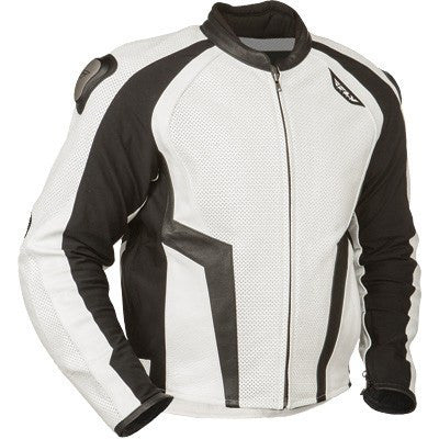 Street Apparel - FLY Apex Motorcycle Jacket Black/White Leather