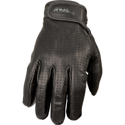 Street Gloves - FLY Street RUMBLE Perforated Motorcycle Gloves Black Leather