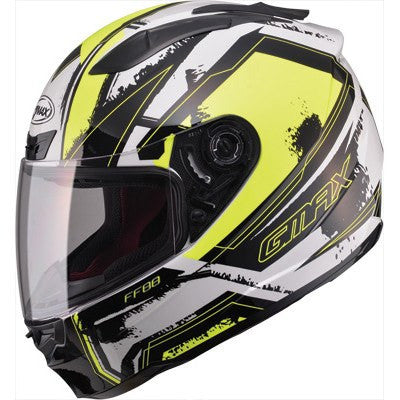 GMAX FF88 Full Face X-Star Motorcycle Helmet White/Hi-Vis Yellow