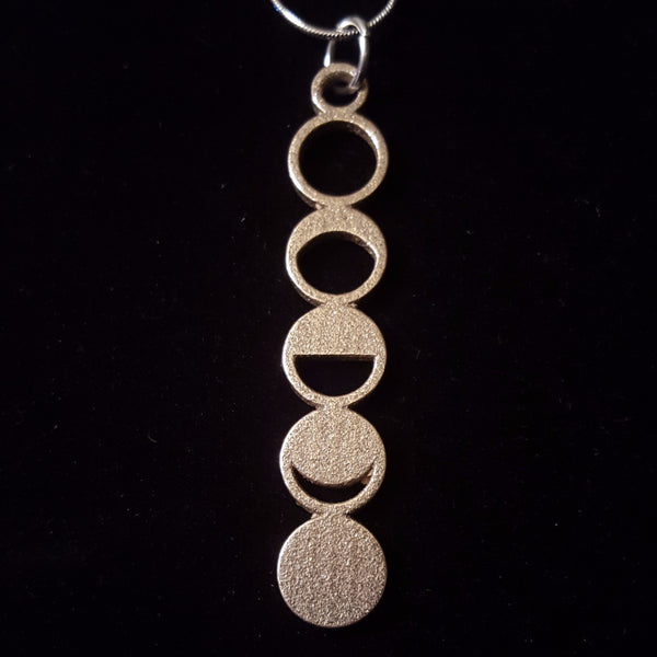 Stainless Steel 3D Printed Moon Phase Necklace by Sci Chic Science Jewelry