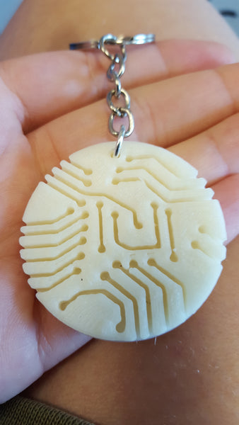 Plastic 3D Printed Circuit Board Keychain Science Jewelry