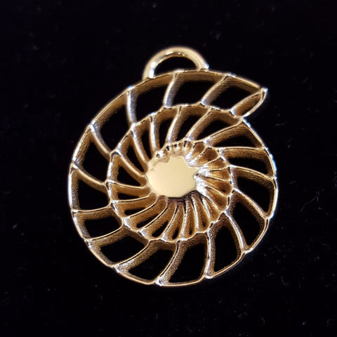 Sci Chic 3D Printed Brass Nautilus science necklace