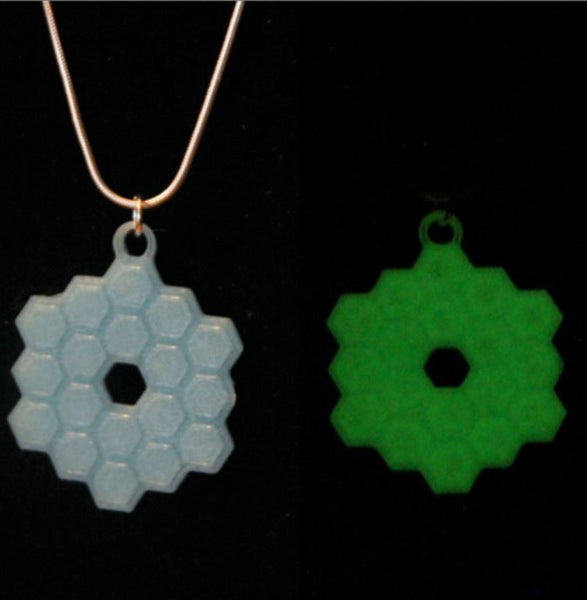 James Webb Space Telescope Necklace 3D Printed JWST Necklace NASA Necklace Science Jewelry Jewellry Glow in the dark