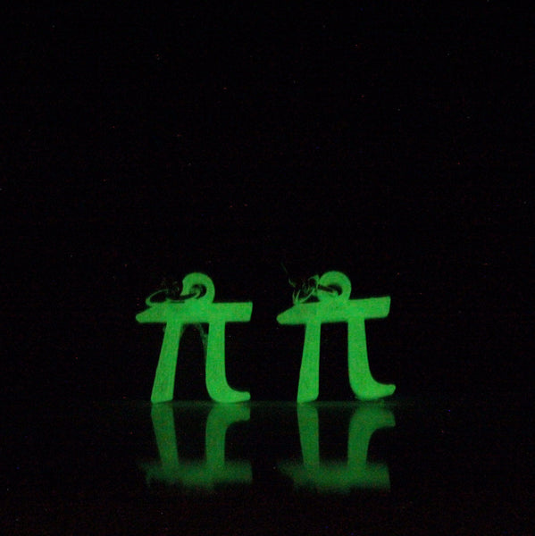 Pi Earrings glow in the dark Sci Chic Science Jewelry math jewelry