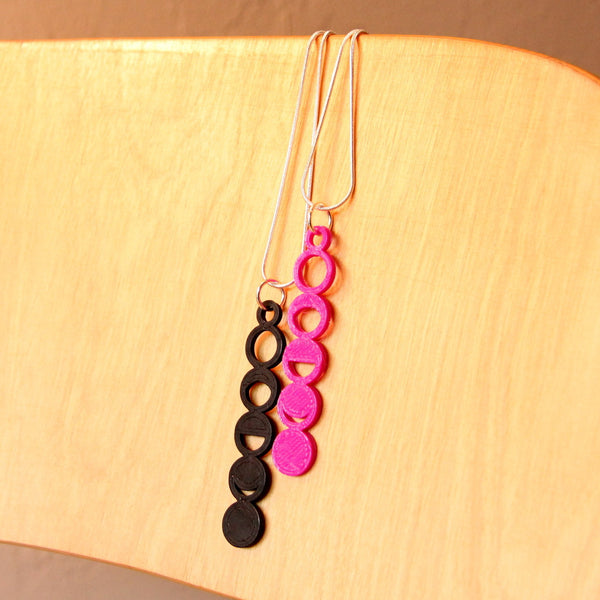 Black and Fuschia Moon Phase Necklace Space Jewelry Science Jewelry Astronomy Necklace Science Necklace Sci Chic