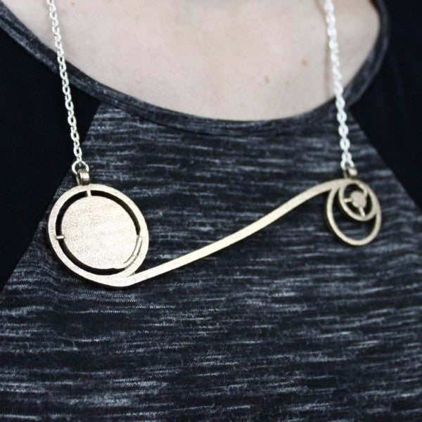 Apollo 11 Moon Mission Jewelry Necklace 3D Printed Science Jewelry Metal
