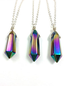 Titanium Rainbow Hematite Necklace | Crystal Point Necklace