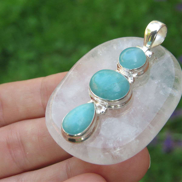 3 Stone Amazonite Pendant in Sterling Silver