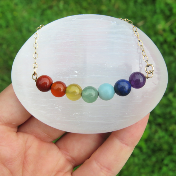 7 Chakra Crystal Necklace - Rainbow Stone Bead Necklace