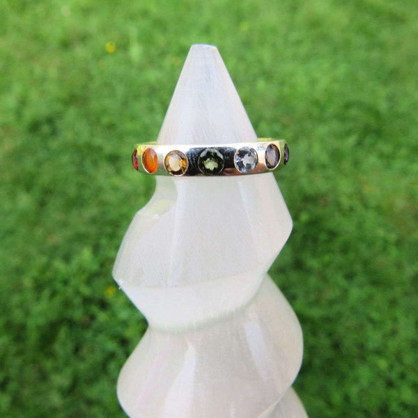 7 Chakra Ring in Sterling Silver Band | Chakra Gemstone Ring