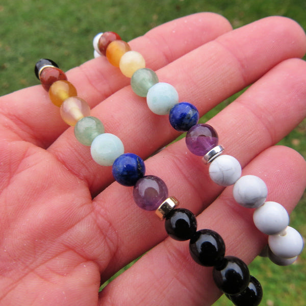 7 Chakra Bracelet w/ Crystal Healing Stone Beads in Black or White
