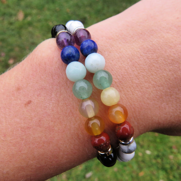 White and Black 7 Chakra Bracelets - Rainbow Crystal Bracelet